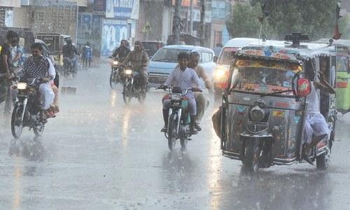 Light rain in city
