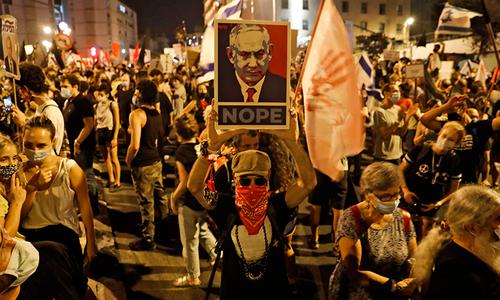 اسرائیلی وزیراعظم نیتن یاہو کی رہائشگاہ کے باہر احتجاج، مستعفی ہونے کا مطالبہ