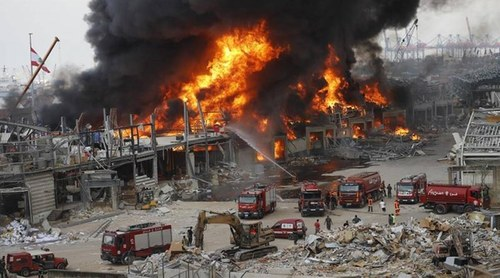 Huge fire breaks out at Beirut port a month after deadly explosion