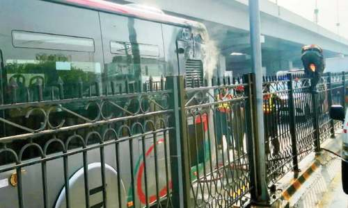 No one hurt as another BRT bus catches fire in Peshawar