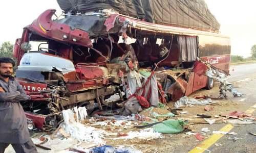 Two killed, 12 hurt as bus hits dumper on motorway
