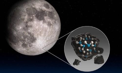 چاند کے روشن حصوں میں پہلی بار پانی دریافت