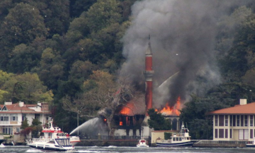 Fire damages historic mosque on Istanbul's Bosporus Strait