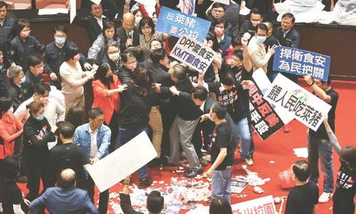 Fists, pig parts fly in Taiwan parliament