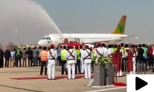 پاکستان کی نئی فضائی کمپنی ایئرسیال کے طیارے کی کراچی آمد