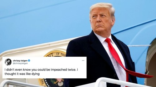 'Impeach him twice!': Celebrities react to Trump's historical impeachment days before leaving office