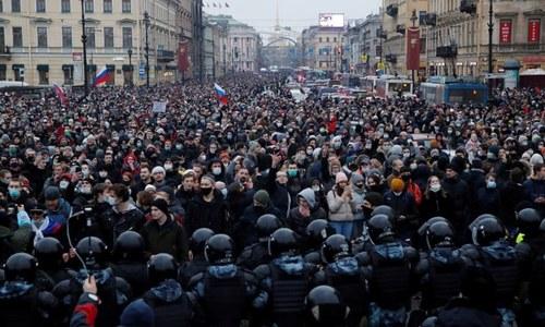 روس: اپوزیشن لیڈر کی رہائی کیلئے ہزاروں افراد کی احتجاجی ریلی، 1500 گرفتار