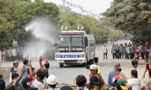 Two killed as Myanmar police open fire on protesters