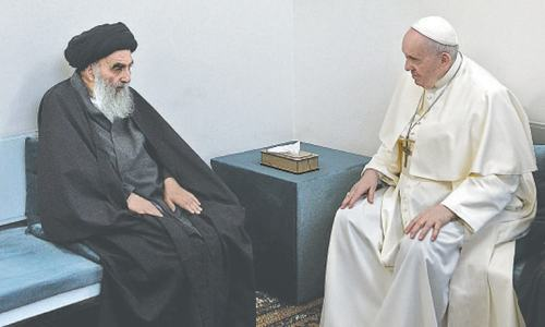 Pope, top Shia cleric plead for 'peace' in historic Iraq encounter