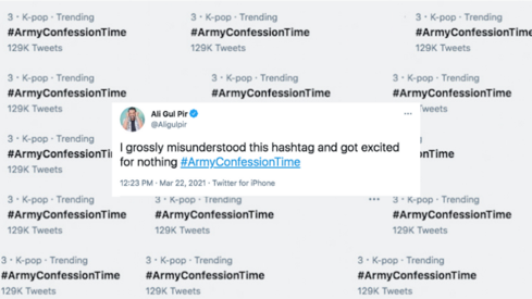 What confessions is the army making on Twitter?