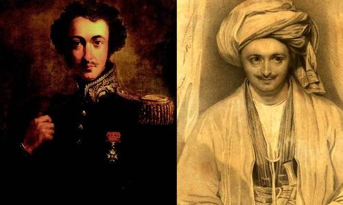 (دائیں) الیگزینڈر برنس  نے جب بخارا کا سفر کیا—تصویر بشکریہ Gutenberg.org. (بائیں) الیگزینڈر برنس کا پورٹریٹ—تصویر کری ایٹو کامنز