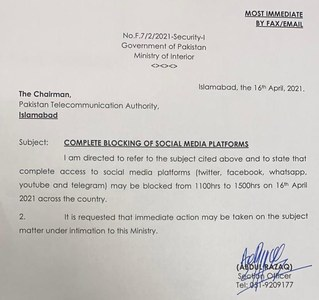 Social media services disrupted across Pakistan