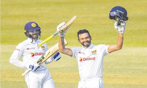 Karunaratne hits double ton as SL bat through on wicketless day