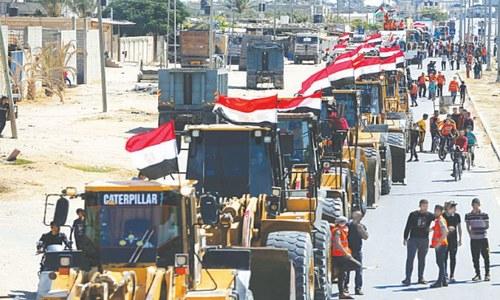 Egypt sends equipment to begin reconstruction work in Gaza