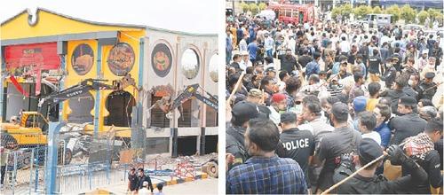 Melee ensues as traders resist demolition drive