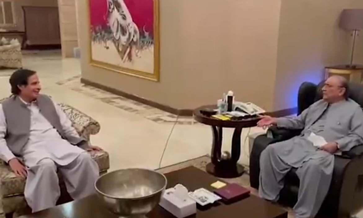 PTI ally Pervaiz Elahi meets Zardari in Lahore