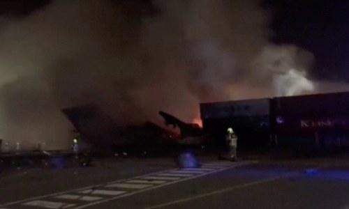 Fiery explosion erupts on ship at major global port in Dubai, tremors felt across city
