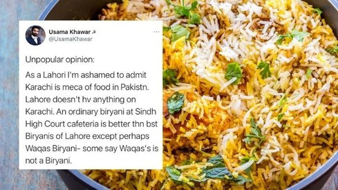 A tweet claimed Karachi's food is the best in Pakistan and Lahoris have a lot to say about this