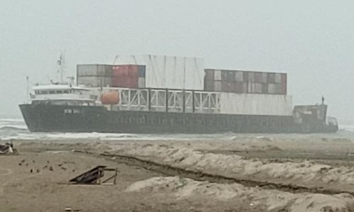 Cargo ship beached at Karachi's Sea View after losing anchors due to rough weather