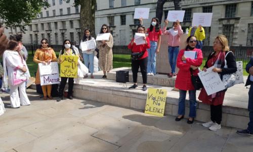 Vigil outside London's 10 Downing street for Noor Mukadam