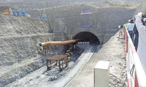 Two portions of Mohmand Dam's diversion tunnel connected
