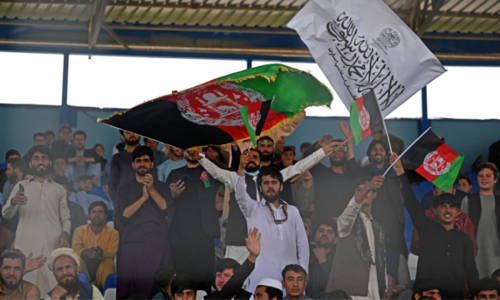Taliban and Afghan flags side by side at 'unity' cricket match in Kabul