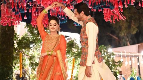 Minal Khan and Ahsan Mohsin Ikram kick off their wedding festivities with a dholki