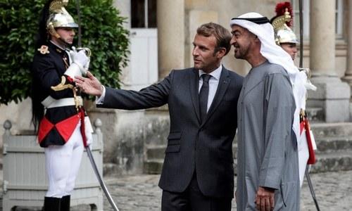 Macron meets key Gulf ally Abu Dhabi crown prince in historic chateau