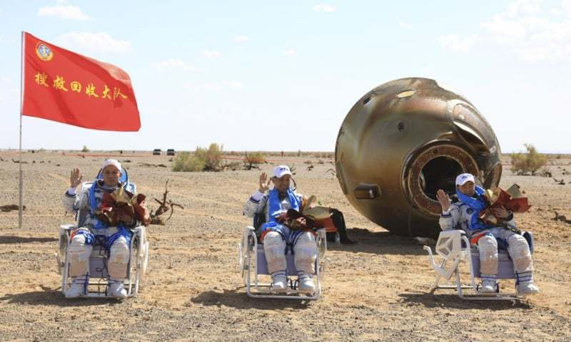 Chinese astronauts return to earth after 90-day mission
