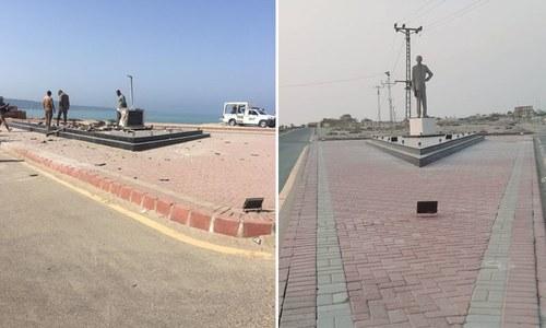 گوادر: دستی بم حملے کے نتیجے میں قائداعظم کا مجسمہ منہدم