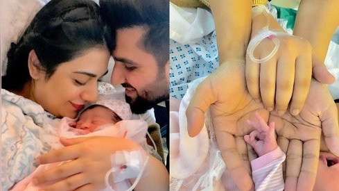 Falak Shabir pays tribute to 'beat of his heart' Sarah Khan after the birth of their daugther
