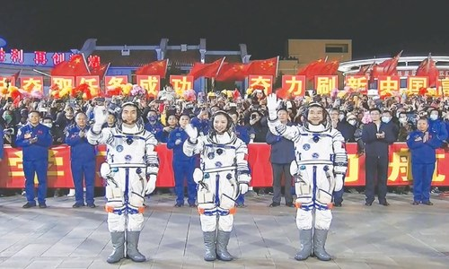 China launches three astronauts on six-month space station mission