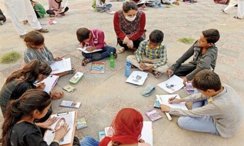 Street children participate in art workshop