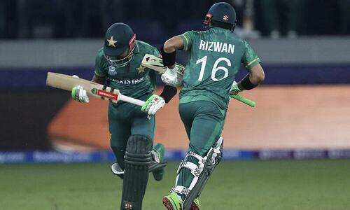 Babar and Rizwan steady but confident in early exchanges with Indian bowlers