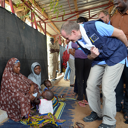 Claus Sorensen, director-general of the European Commission - Humanitarian Aid and Civil Protection (ECHO), visiting a center for malnourished children in Tibiri, southeastern Niger.—Photo by AFP