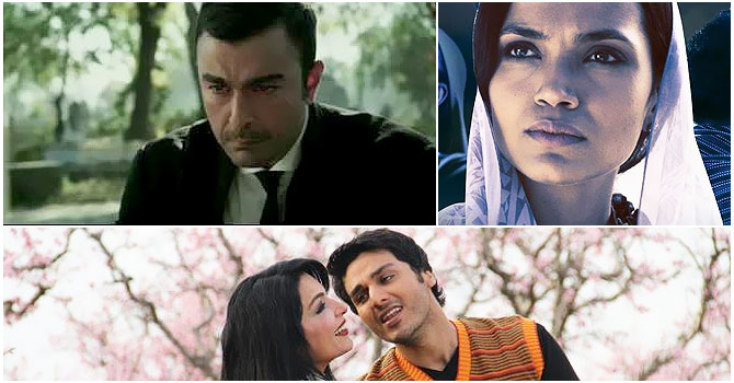 "(L-R) Screen shots from upcoming local productions : Shan in ""Waar"", Aamina Sheikh in ""Josh"" and Ahsan Khan and Meera in Ishq Khuda."