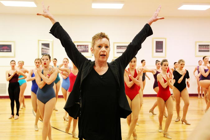 This image released by Starpix shows Linda Haberman, Director and Choreographer, Radio City Christmas Spectacular directing dancers at an audition with the Rockettes, at Radio City Music Hall in New York. —AP Photo