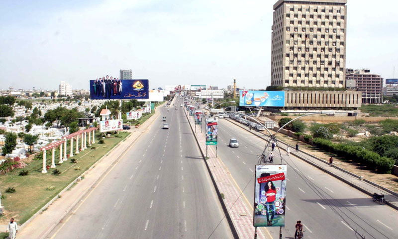 A road gives a desert look during a strike called by the Muttahida Qaumi Movement (MQM) over a bomb attack on their party camp office.—File Photo