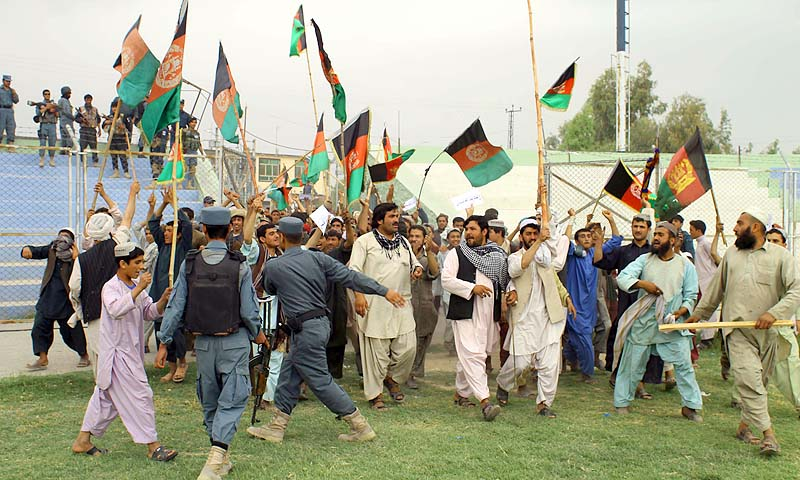 Afghan protesters shout slogans during a demonstration against Pakistan in Kandahar. The Afghan government on Monday summoned a senior Pakistani diplomat to protest against a second cross-border escalation in days as thousands took to the streets to denounce their eastern neighbour.—Photo by AFP
