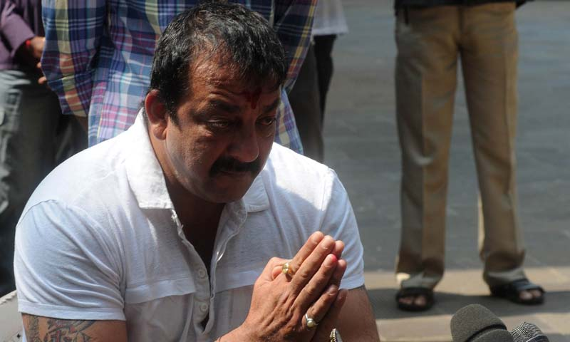 Indian Bollywood actor Sanjay Dutt gestures during a media conference outside his residence in Mumbai.— Photo AFP