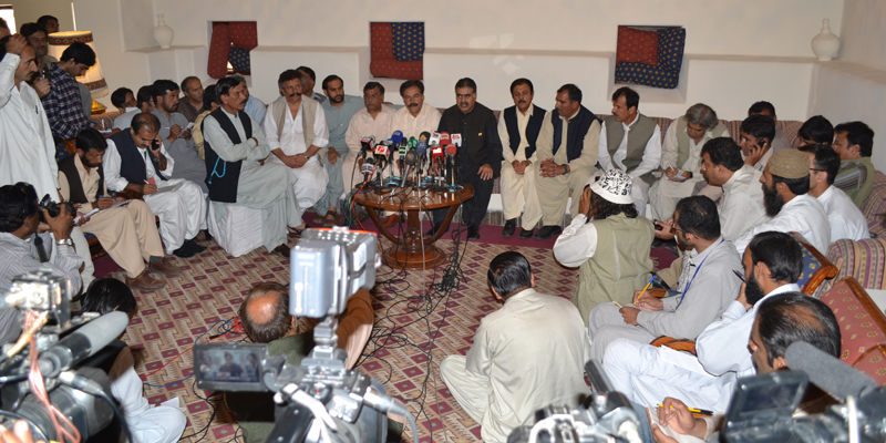 Zehri addressing a press conference. — Photo provided by Syed Ali Shah.