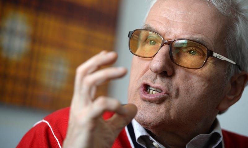 Director and publisher Gottfried Wagner, grand-grandson of German composer Richard Wagner, gestures during an interview on May 6, 2013 in Cologne, Germany. — Photo AFP