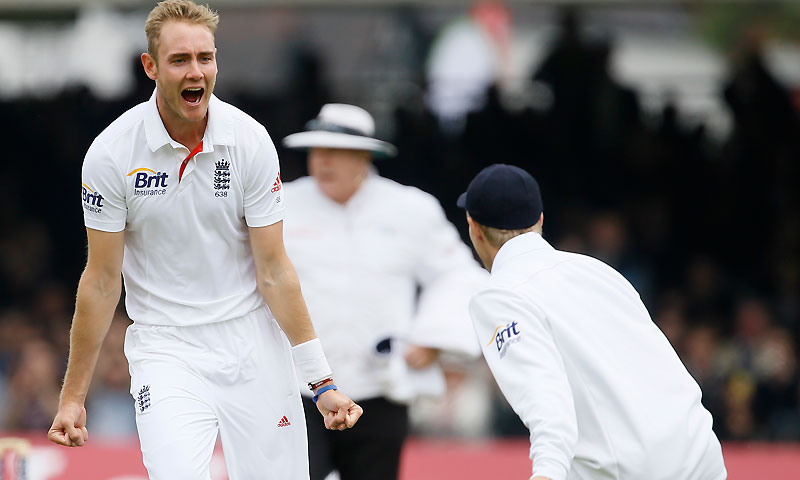 Broad had the remarkable figures of five wickets for 22 runs in 5.4 overs. -Photo by AFP