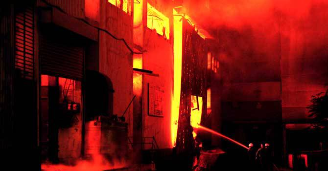 Fire-fighters try to control the blaze at a garment factory in Karachi. – Photo by AFP/File