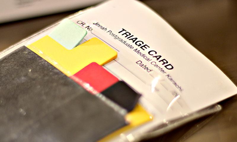 A triage card at JPMC. — Photos by Shameen Khan/Dawn.com