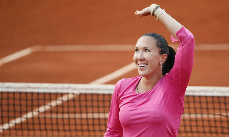Serbia's Jelena Jankovic celebrates her victory over USA's Jamie Hampton at the end of their French Tennis Open round of sixteen match at the Roland Garros stadium in Paris, on June 3,  2013.  — AFP Photo