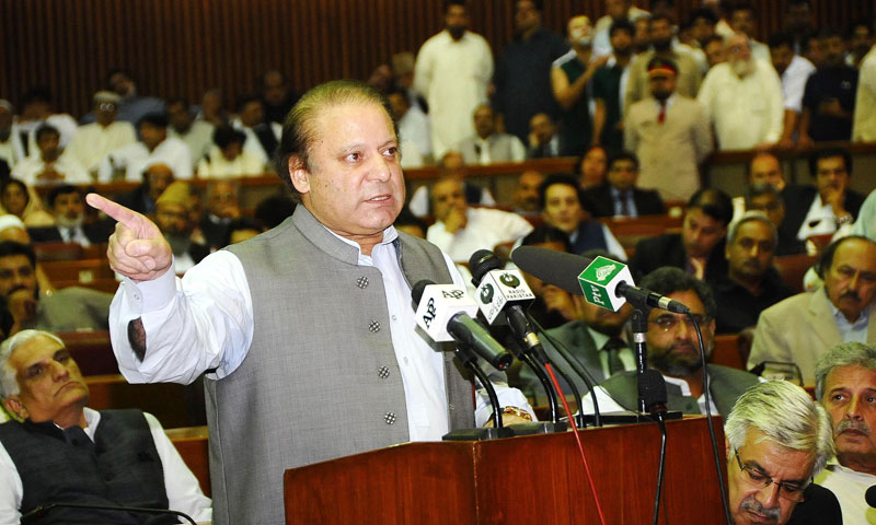 Pakistan's new Prime Minister Nawaz Sharif addresses the National Assembly in Islamabad on June 5, 2013. — AFP Photo