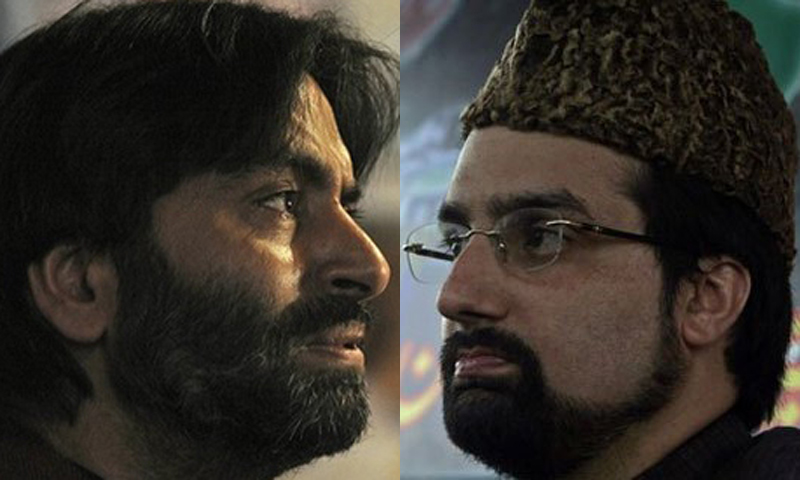 "Yasin Malik (L) has accused Mirwaiz Umar Farooq (R) of ""siding with tyrants"" and ""safeguarding Indian interests in Kashmir"".  — File photos."
