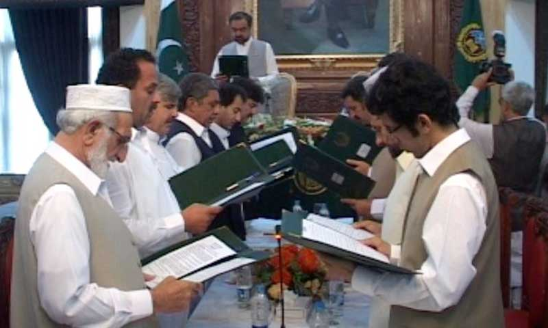 Ministers of the KP cabinet taking oath. — Photo by Zahir Shah Sherazi