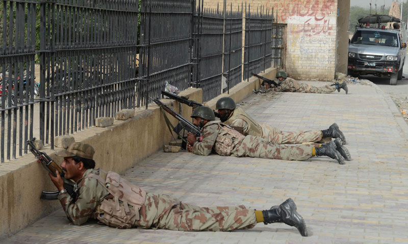 paramilitary soldiers take position after militants attacked a hospital in Quetta on June 15, 2013. —AFP Photo